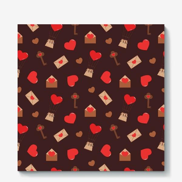 Холст «паттерн сердечки, конверты, ключи, любовь»