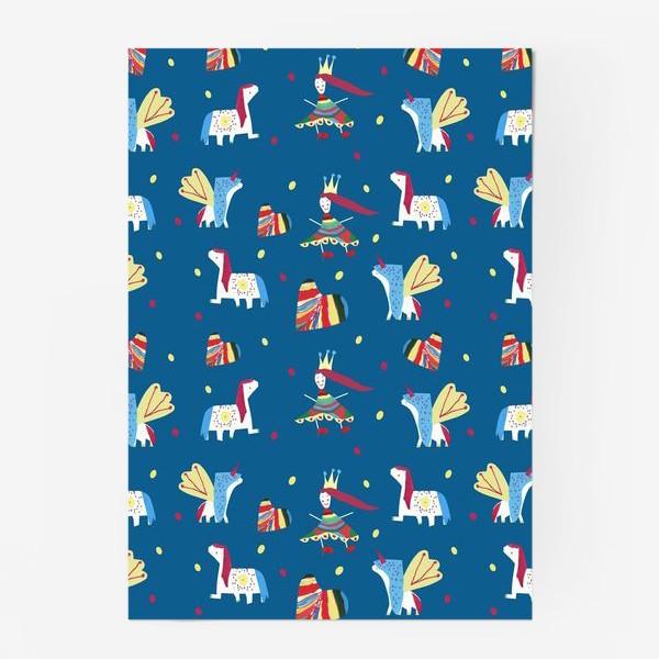 """Постер «Паттерн """"Пони и принцессы"""" на синем фоне»"""