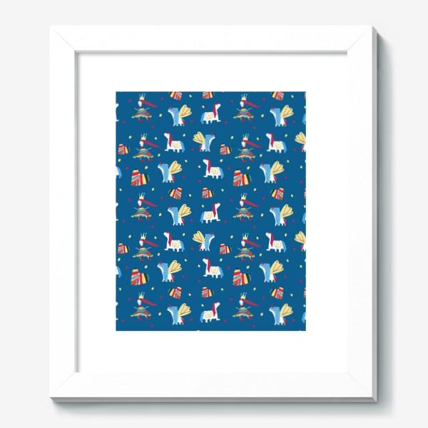 "Картина «Паттерн ""Пони и принцессы"" на синем фоне»"