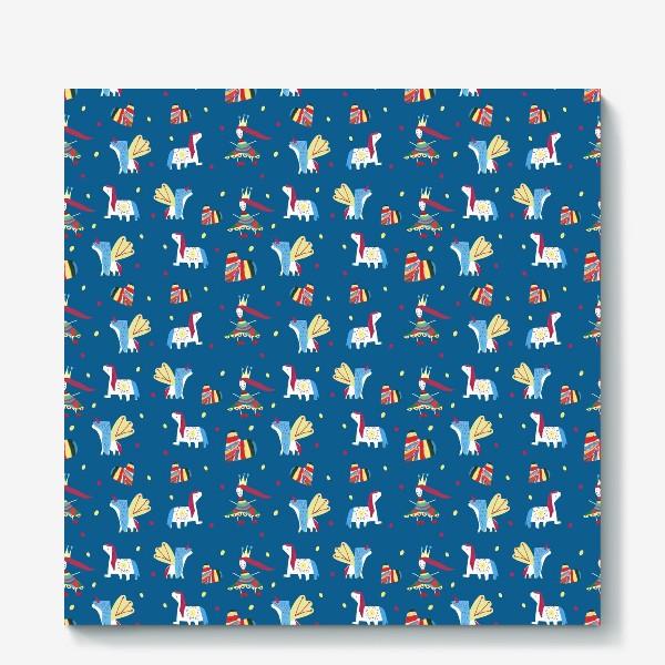 "Холст «Паттерн ""Пони и принцессы"" на синем фоне»"