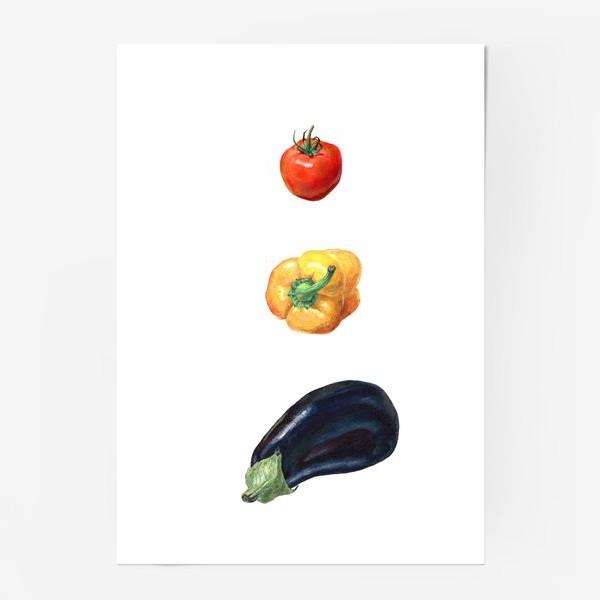 Постер «Баклажан, перец и помидор»