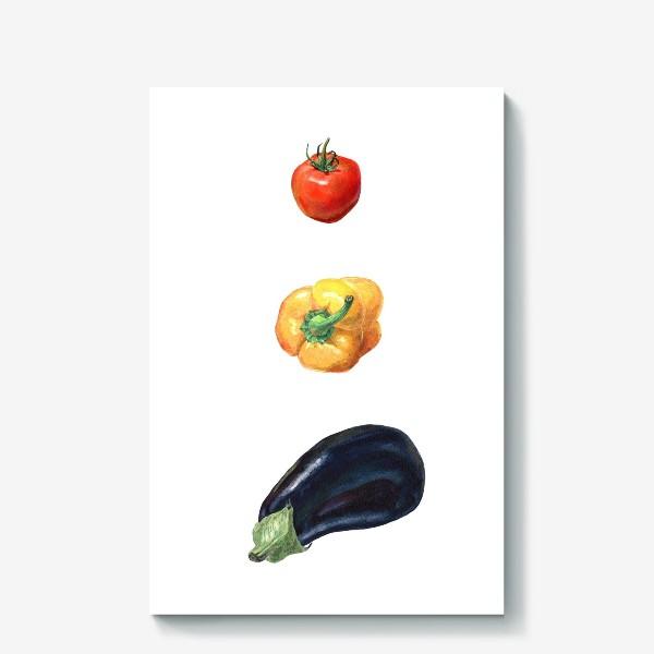 Холст «Баклажан, перец и помидор»
