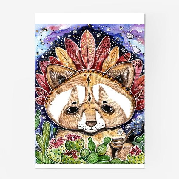 Постер «Енотик индеец. Енот альбинос и трубка мира . Мексиканец »