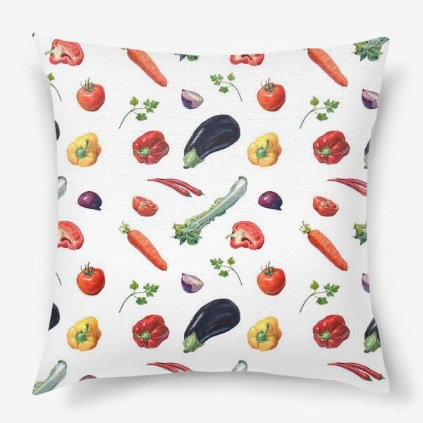 Подушка «Овощи паттерн»