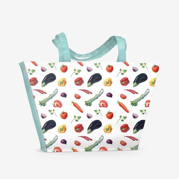 Пляжная сумка «Овощи паттерн»