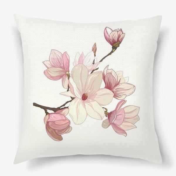 Подушка «Цветы магнолии. Нежные и прекрасные.»
