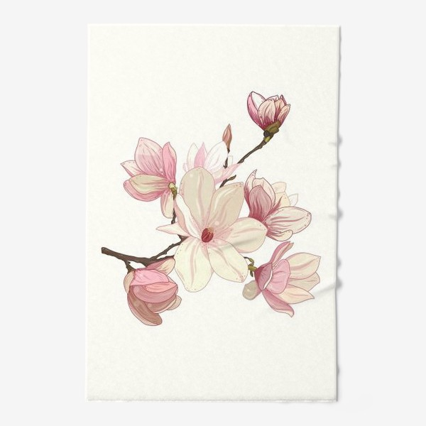 Полотенце «Цветы магнолии. Нежные и прекрасные.»