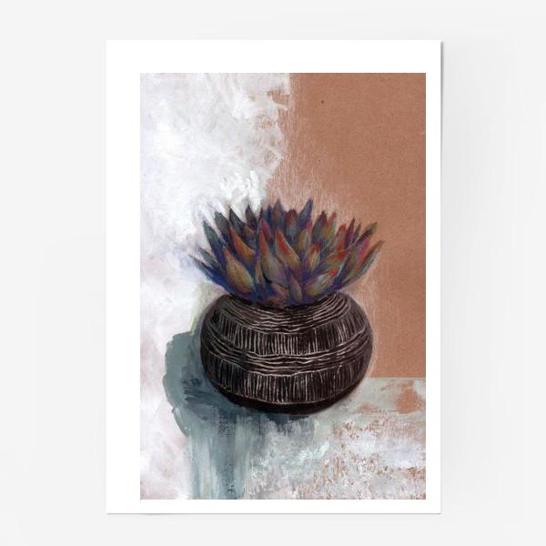 Постер «Суккулент в горшке сграффито.»