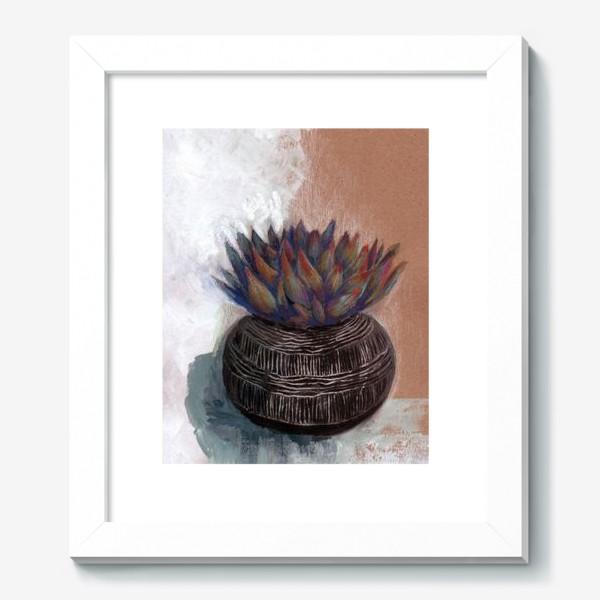 Картина «Суккулент в горшке сграффито.»