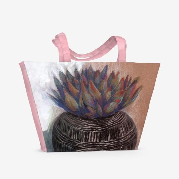 Пляжная сумка «Суккулент в горшке сграффито.»