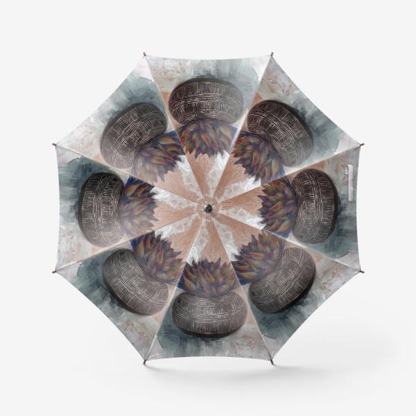 Зонт «Суккулент в горшке сграффито.»