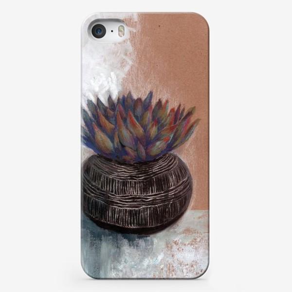 Чехол iPhone «Суккулент в горшке сграффито.»