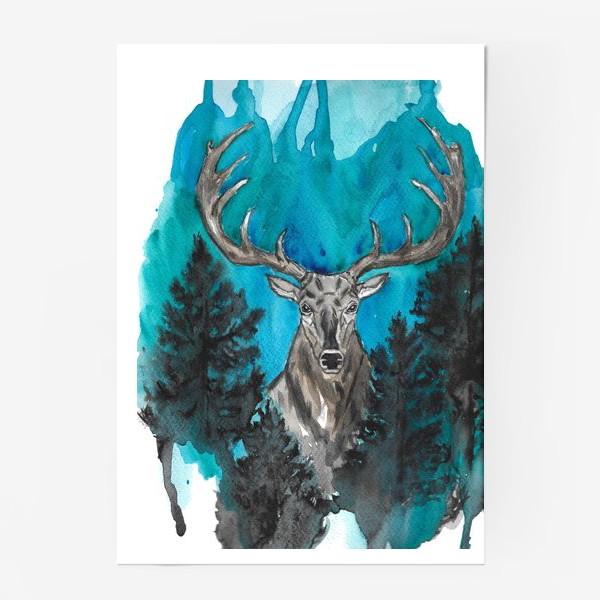 Постер «Олень с большими рогами»