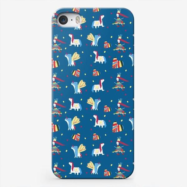 "Чехол iPhone «Паттерн ""Пони и принцессы"" на синем фоне»"