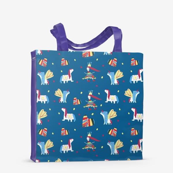 """Сумка-шоппер «Паттерн """"Пони и принцессы"""" на синем фоне»"""