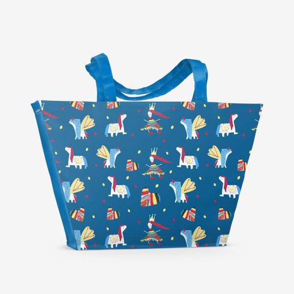 """Пляжная сумка «Паттерн """"Пони и принцессы"""" на синем фоне»"""