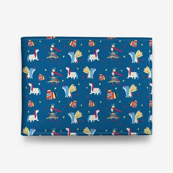 """Кошелек «Паттерн """"Пони и принцессы"""" на синем фоне»"""