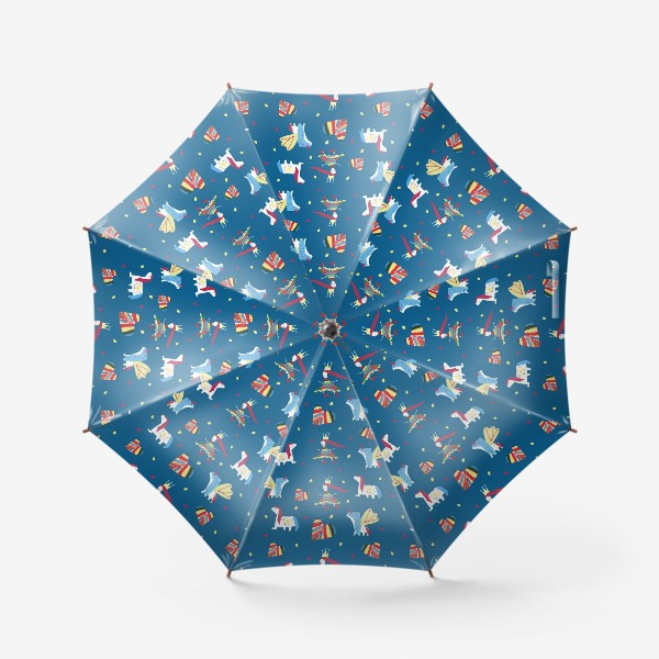 """Зонт «Паттерн """"Пони и принцессы"""" на синем фоне»"""