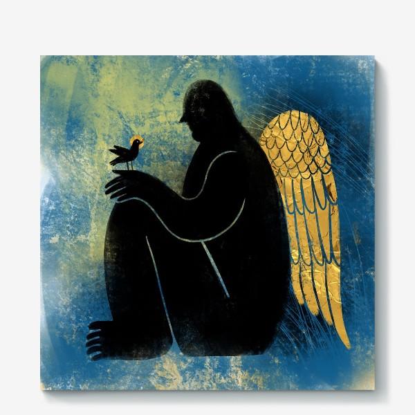 Холст «Ангел с птичкой»