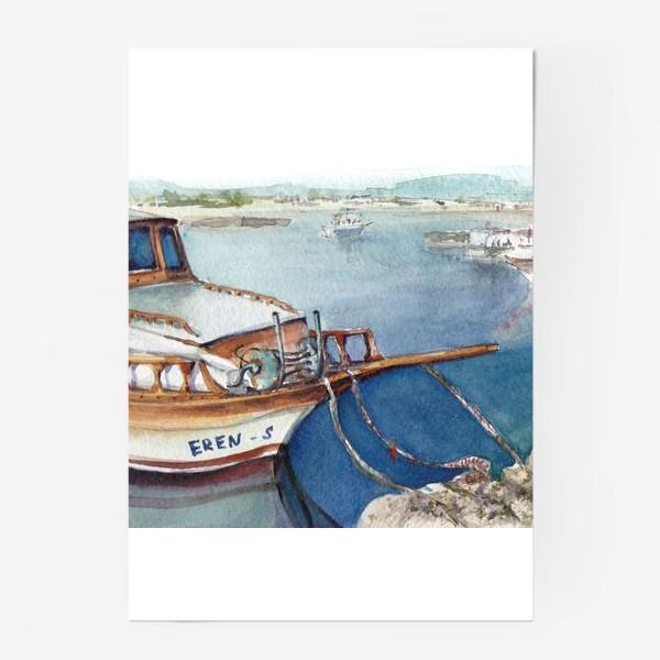 Постер «Морской пейзаж с яхтой. Лодочки. »