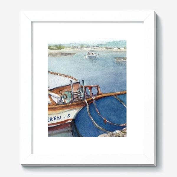 Картина «Морской пейзаж с яхтой. Лодочки. »