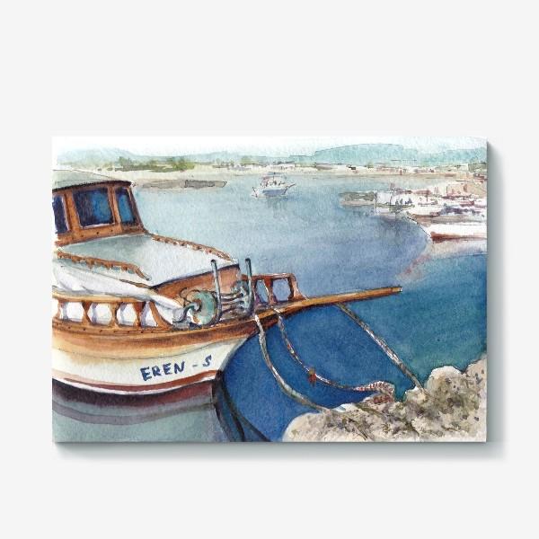 Холст «Морской пейзаж с яхтой. Лодочки. »