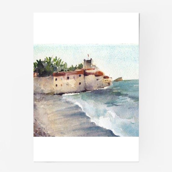 Постер «Крепость и море. Старый город в Будве. Черногорская серия.»