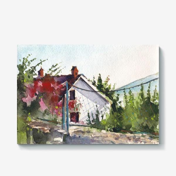 Холст «Домик в цветах. Черногорская серия.»