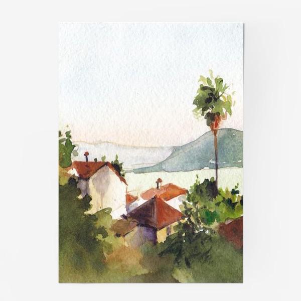 Постер «Пейзаж с морем и пальмами. Херцег-Нови. Черногорская серия. »