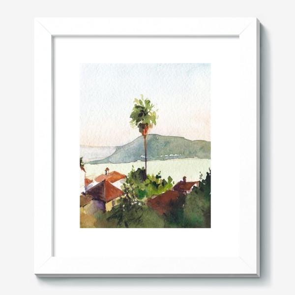 Картина «Пейзаж с морем и пальмами. Херцег-Нови. Черногорская серия. »