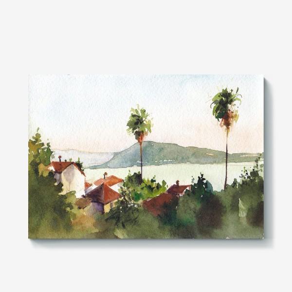 Холст «Пейзаж с морем и пальмами. Херцег-Нови. Черногорская серия. »