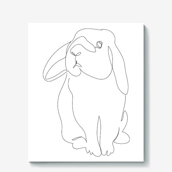 Холст «Кролик. Графика. Линейный рисунок»