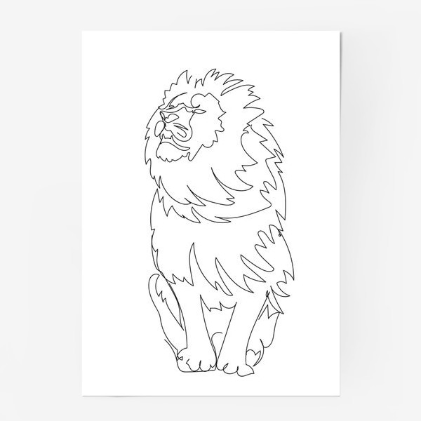 Постер «Лев. Графика. Линейный рисунок»