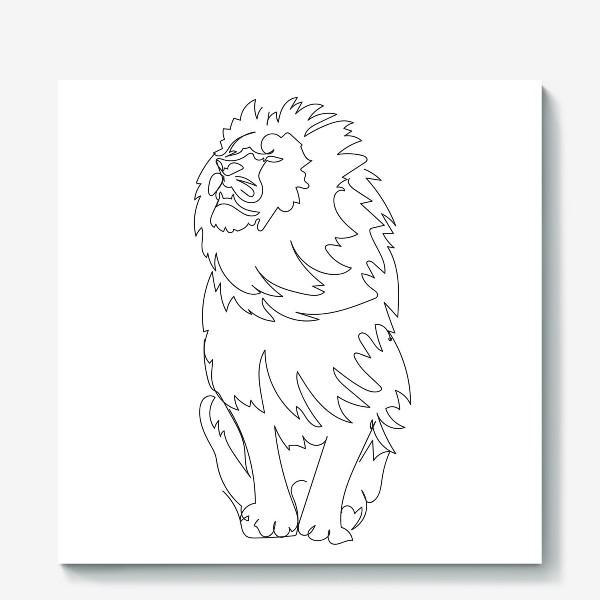 Холст «Лев. Графика. Линейный рисунок»