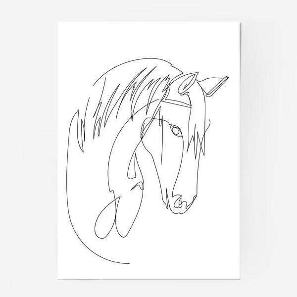Постер «Конь. Графика. Линейный рисунок»