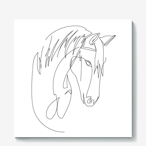 Холст «Конь. Графика. Линейный рисунок»