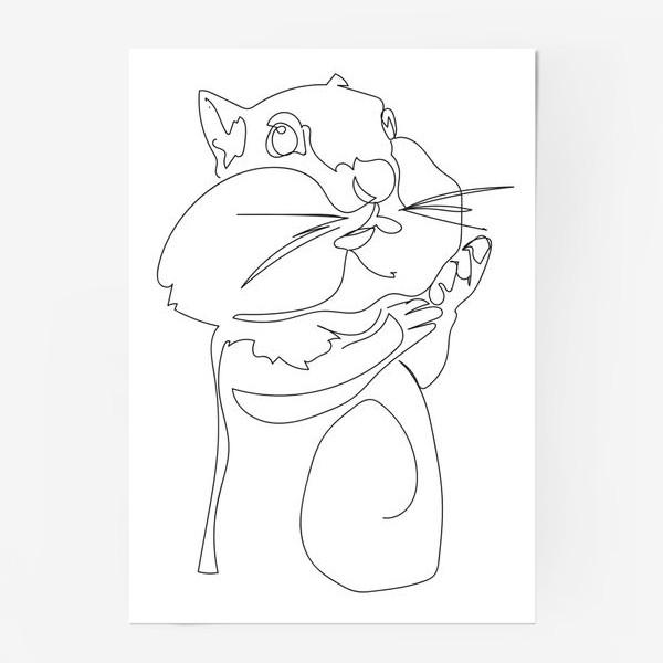 Постер «Хомяк. Графика. Линейный рисунок»