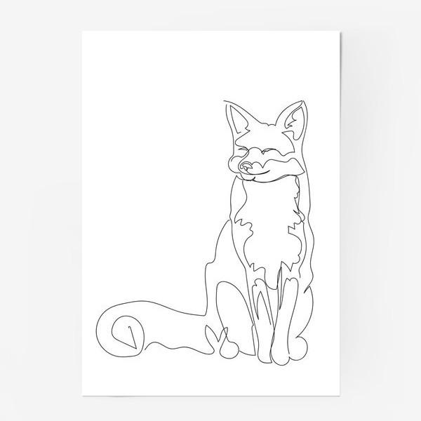 Постер «Лиса. Графика. Линейный рисунок»