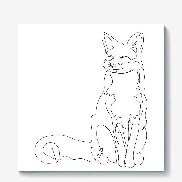 Холст «Лиса. Графика. Линейный рисунок»