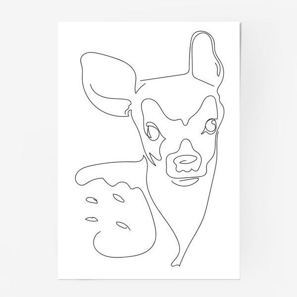 Постер «Олененок. Графика. Линейный рисунок»