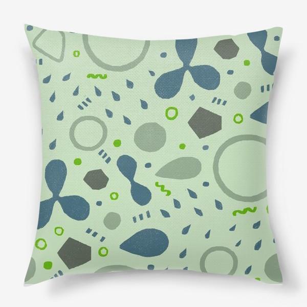 Подушка «Сине-зеленая абстракция»