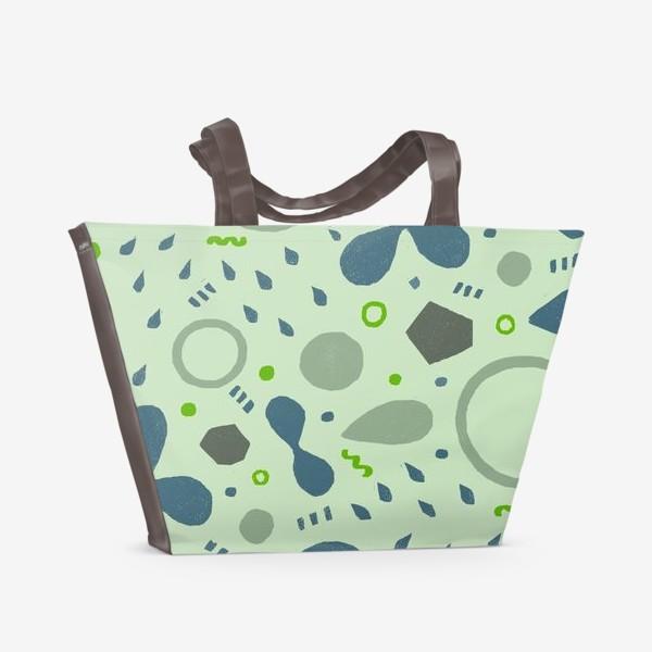 Пляжная сумка «Сине-зеленая абстракция»