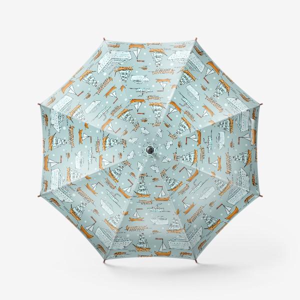 Зонт «Паттерн кораблики»