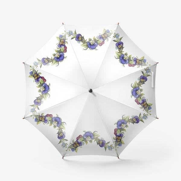Зонт «Цветы анютины глазки»