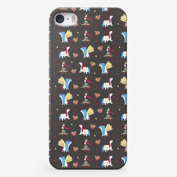 """Чехол iPhone «Паттерн """"Пони и принцессы"""" на черном фоне»"""