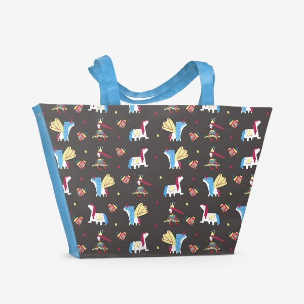 """Пляжная сумка «Паттерн """"Пони и принцессы"""" на черном фоне»"""