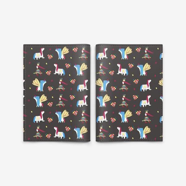 """Обложка для паспорта «Паттерн """"Пони и принцессы"""" на черном фоне»"""