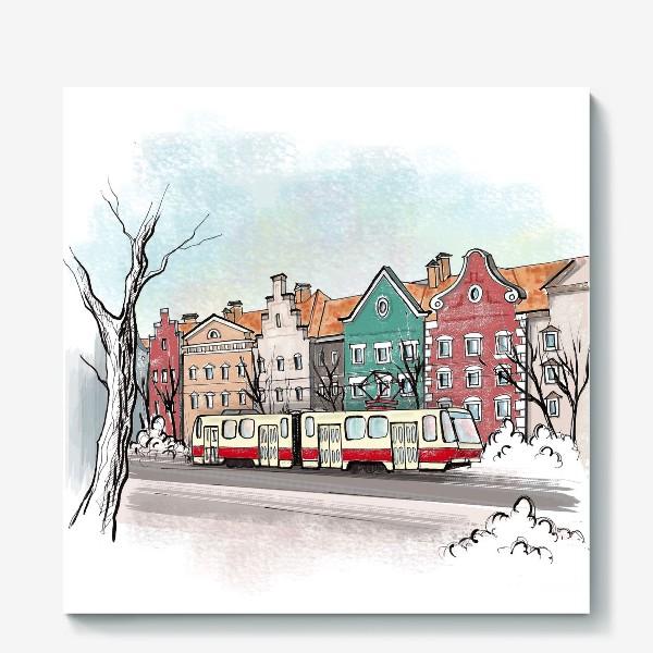 Холст «Трамвай. Улицы Калининграда.»