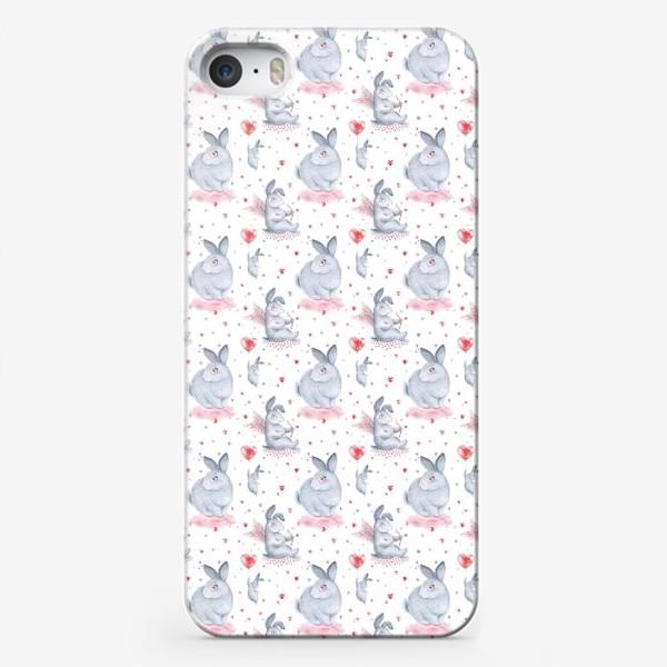 Чехол iPhone «Паттерн Влюбленные зайки (любовь, сердце, День Святого Валентина)»