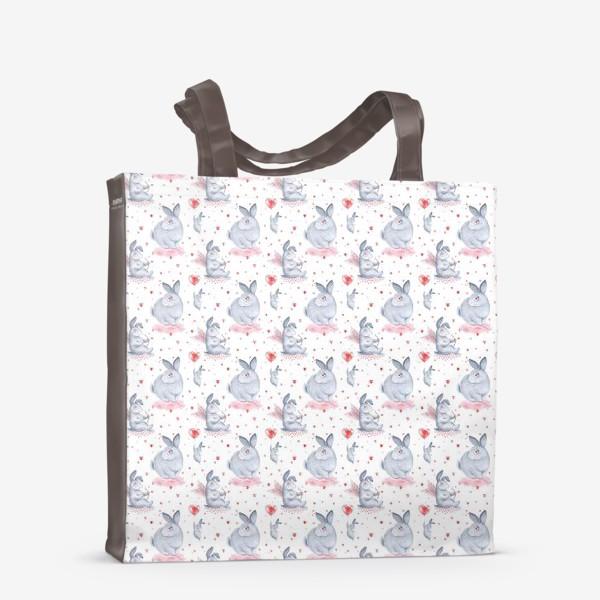 Сумка-шоппер «Паттерн Влюбленные зайки (любовь, сердце, День Святого Валентина)»